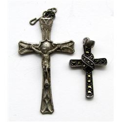 2-ANTIQUE STERLING CROSS PENDANTS