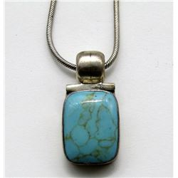 MEXICO STERLING NECKLACE WITH LARGE TURQUOISE