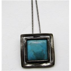 STERLING CHAIN WITH NAVAJO PENDANT WITH