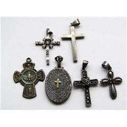 6-STERLING CROSS PENDANTS