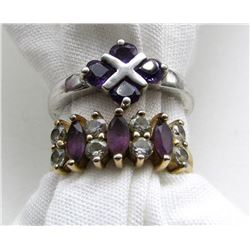 2-STERLING RINGS WITH DEEP PURPLE AND CLEAR