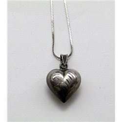 ANTIQUE STERLING CHAIN WITH HEART PENDANT