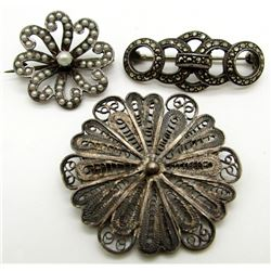 3-ANTIQUE STERLING PINS: 1 MARCASITE,