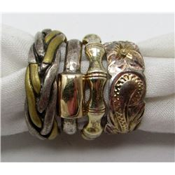 4-GOLD TONED STERLING SILVER RINGS