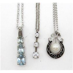 3 PENDANT NECKLACES STERLING SILVER