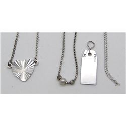 3-NEW STERLING NECKLACES WITH PENDANTS