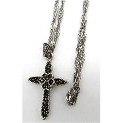 MARCASITE STELRING PENDANT WITH LONG CHAIN