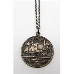 STERLING PENDANT WITH EGYPTIAN CIRCULAR