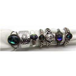 7-STERLING RINGS WITH GEMSTONE ACCENTS