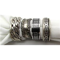 4-MENS STERLING RINGS WITH ENGRAVED DESIGNS