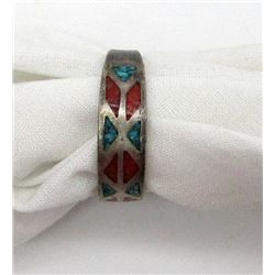 NAVAJO STERLING RING WITH RED CORAL AND