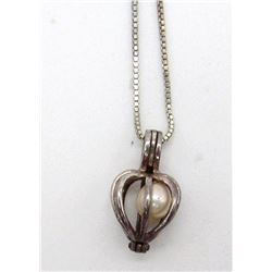 ANTIQUE STERLING PENDANT WITH PEARL NECKLACE
