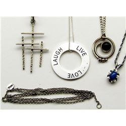 4-STERLING NECKLACES WITH PENDANTS
