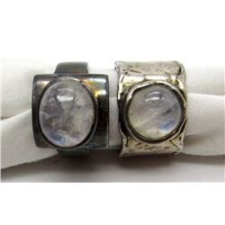 2-ANTIQUE STERLING RINGS WITH WHITE STONE