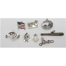 8-STERLING CHARMS FOR CHARM BRACELET