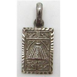 MEXICO STERLING PENDANT WITH AZTEC DESIGN