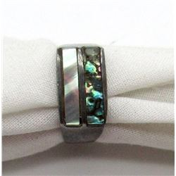 ANTIQUE MEXICO STERLING RING WITH ABILONE
