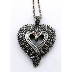 STERLING NECKLACE WITH LARGE MARCASITE