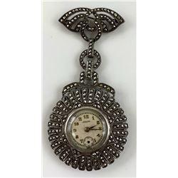 Vintage .925 Sterling Silver & Marcasite Pendant W