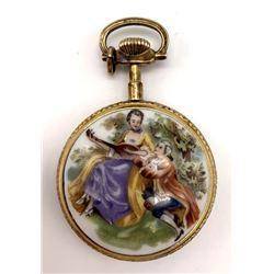 Bulova Pocket Watch Gold/Painted Ornate Victorian