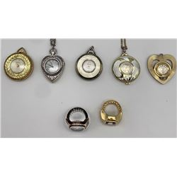 5 PENDANT LADIES WATCHES & 2 RING WATCHES