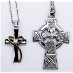 2-STERLING NECKLACES WITH CROSS PENDANTS