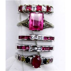 5-STERLING BLING RINGS WITH PINK STONES