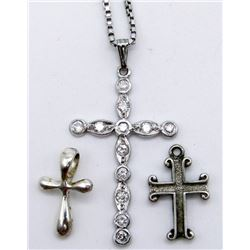 STERLING NECKLACE WITH (3)CROSS PENDANTS