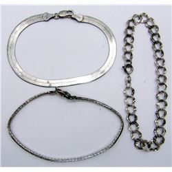 3-STERLING BRACELETS WITH DIFF DESIGNS