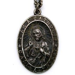 ANTIQUE STERLING NECKLACE WITH RELIGIOUS