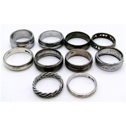 10-ANTIQUE STERLING RINGS ALL HAVE