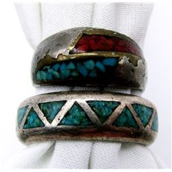 2-MENS NAVAJO STERLING RINGS WITH RED CORAL