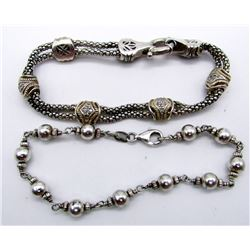 2-MODERN STERLING BRACELETS WITH GORGEOUS