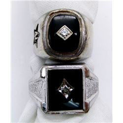 2-MENS STERLING RINGS WITH BLACK ONYX