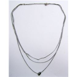 STERLING LAYERED NECKLACE WITH CIRCULAR CHARM