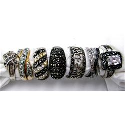 6-ANTIQUE STERLNG MARCASITE RINGS