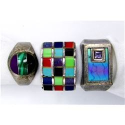3-ANTIQUE STERLING RINGS WITH MULTI COLORED