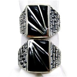 2-MENS STERLING RINGS WITH LARGE BLACK