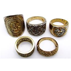 5-MODERN STERLING GOLD TONED RINGS