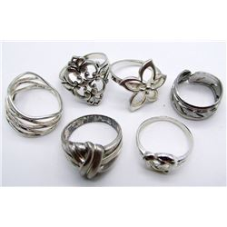 6-STERLING RINGS ALL WITH DIFF DESIGNS!