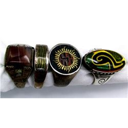 4-ANTIQUE STERLING RINGS! CHECK OUT THE