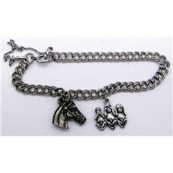 STERLING CHARM BRACELET WITH HORSE AND