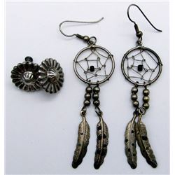 2-PAIRS OF STERLINIG EARRINGS: (1)DANGLY
