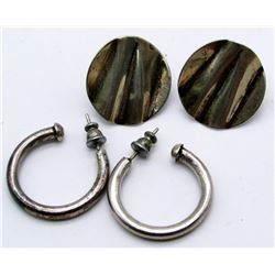 2-PAIRS OF ANTIQUE STELRING EARRINGS