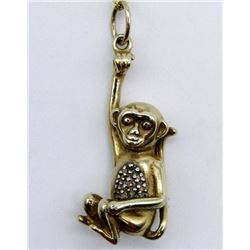 GOLD TONED STERLING NECKLACE WITH MONKEY