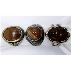 3-ANTIQUE STERLING MENS RINGS WITH BROWN