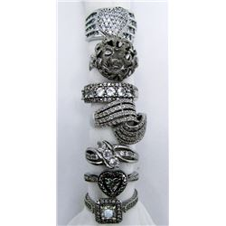 7-STERLING BLING RINGS WITH SPARKLY DESIGNS!