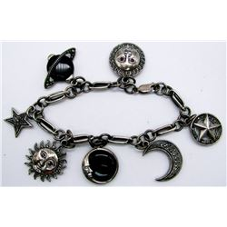 STERLING CHARM BRACELET WITH SUN/MOON/STAR