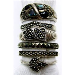 6-STERLING RINGS: (1)BLACK ONYX & ABILONE