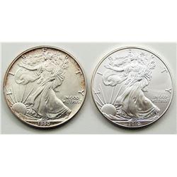 1990 & 2010 AMERICAN SILVER EAGLE